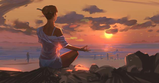 Обои Девушка в белой одежде медитирует, сидя на камне на морском берегу, by snatti
