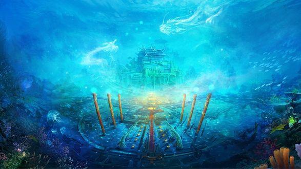 Обои Магия подводного мира - на морском дне удивительный храм, который охраняют драконы, перед храмом высокие колонны, стайками плавают рыбки, украшают дно красивые поселения кораллов