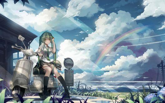 Обои Vocaloid Hatsune Miku / Вокалоид Хатсунэ Мику на фоне радуги