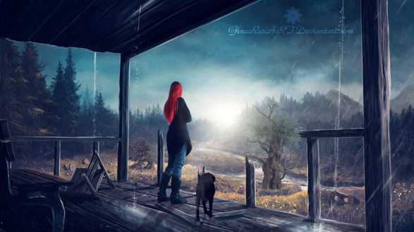 Обои Девушка с собакой стоят на террасе, наблюдая за дождем, by GeneRazART