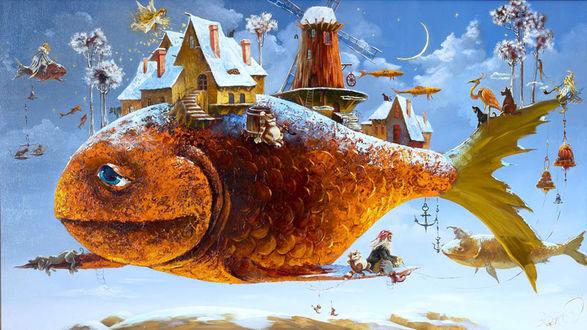 Обои Огромная рыба-остров, плывущая в небе, на ней дома, мельница, деревья, люди и животные, жудожник Антон Горцевич
