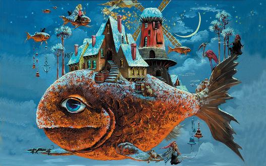 Обои Рыба-остров с домами, мельницей, деревьями, людьми и животными, плывет в ночном небе, художник Антон Горцевич
