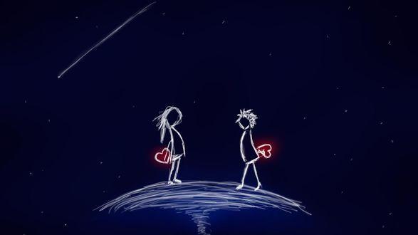 Обои Нарисованный парень идет к девушки с сердечком за спиной на фоне ночного неба
