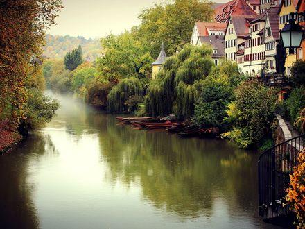Обои Река в небольшом городке, Тюбинген, Германия