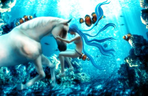 Обои Vocaloid Hatsune Miku / Вокалоид Хатсунэ Мику и белая лошадь под водой в окружении рыбок