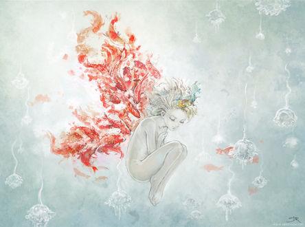 Обои Обнаженная девочка, за спиной которой карпы кои образовали крылья бабочки, под водой, рядом плавают медузы
