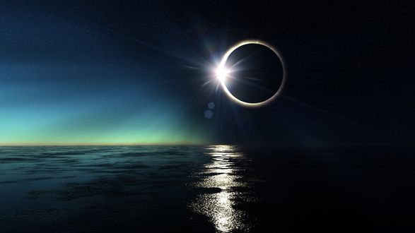 Обои Солнечное затмение и солнечная дорожка на спокойной поверхности бескрайних морских просторов