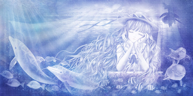 Обои Девушка в шляпке сидит у окна и мечтает о море