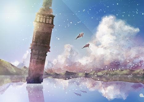 Обои Башня в море и два дельфина, парящих в небе