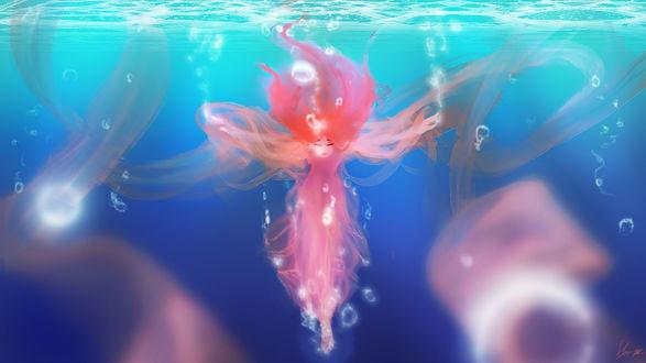 Обои Девушка-медуза под водой