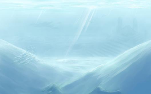 Обои Стайка рыбок и киты под водой