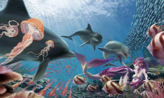 Обои Русалка в окружении морских обитателей под водой
