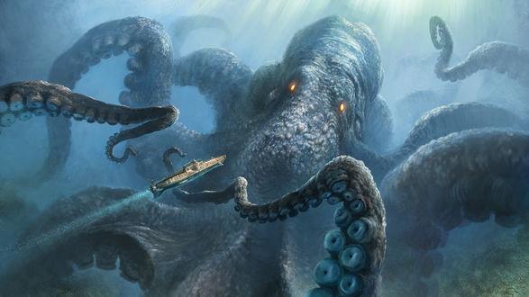 Обои Морское чудище кракен топит подводную лодку