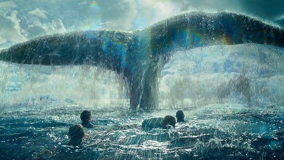 Обои Экипаж китобойного судна «Эссекс» смотрит на огромный хвост кашалота, кинофильм В сердце моря
