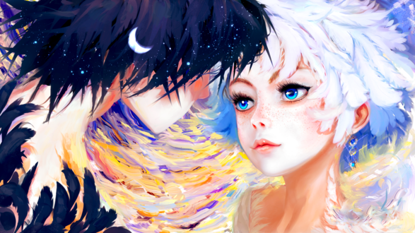 Обои Парень-ночь и девушка день готовы к поцелую, by Hangmoon