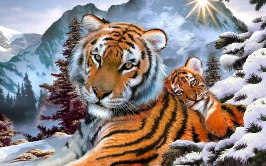 Обои Тигрица с детенышем лежат на снегу у ели, на фоне гор