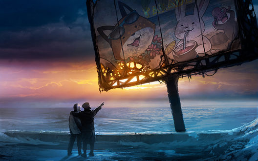 Обои Два человека в противогазах стоят на берегу замерзающего моря, рядом старый покосившийся плакат, свидетельствующий о том, что до апокалипсиса в этом месте был тропический курорт