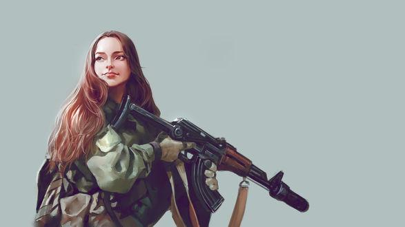 Обои Красивая девушка с оружием в камуфляжной форме на сером фоне
