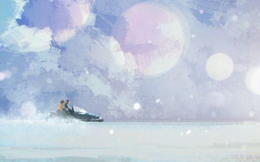 Обои Два человека мчат на снегоходе сквозь снежную бурю