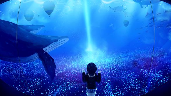 Обои Школьница смотрит через стекло на морских обитателей и воздушные шары под водой