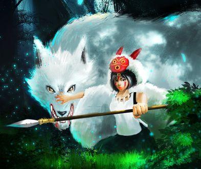 Обои Princess Mononoke / Принцесса Мононокэ и богиня-волчица Moro / Моро из аниме Princess Mononoke / Принцесса Мононоке / Mononoke Hime