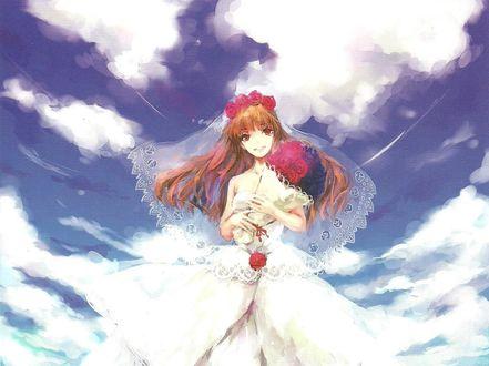Обои Радостная Ib / Иб в свадебном платье с букетом на фоне облачного неба, арт по мотивам игры IB