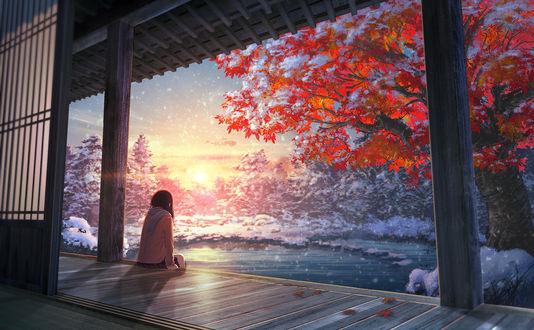 Обои Девушка сидя на крыльце смотрит на закат, art by natsu3390