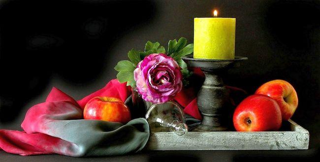 Обои Яблоки, цветок, предметы, натюрморт