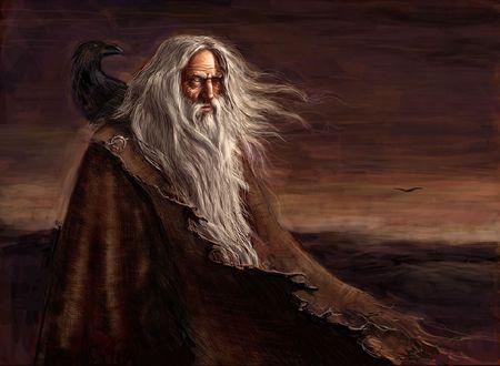 Обои Один или Вотан, главный бог скандинаво-германской мифологии, сын Бора и Бестлы, внук Бури с вороном на плече
