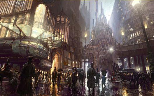 Обои Оживленная улица города под дождем в стиле стим панк