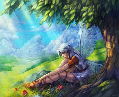 Обои Девушка с крылышками бабочки сидит у дерева, by Kate Zhbanova