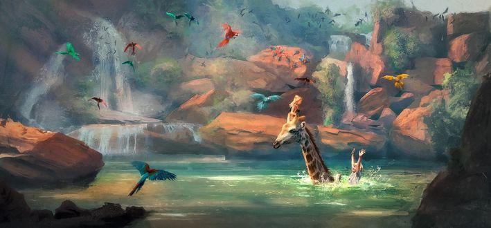 Обои Дети с жирафом в воде и яркие попугаи парят нал ними, by Stеphane (Wootha) Richard