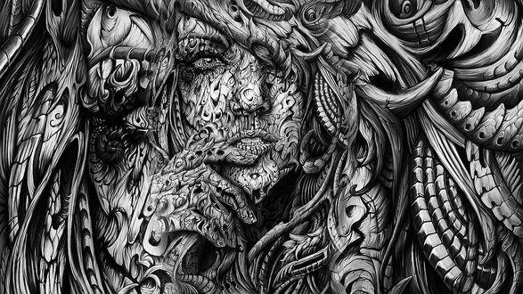 Обои Абстрактное изображение лица девушки в замысловатых узорах