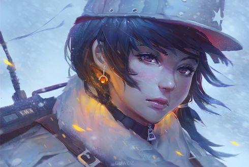 Обои Девушка - солдат под падающим снегом, by GUWEIZ