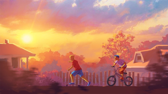 Обои Барт Симпсон и его лучший друг Милхаус катаются на скейте и велосипеде на фоне заката / by Tohad
