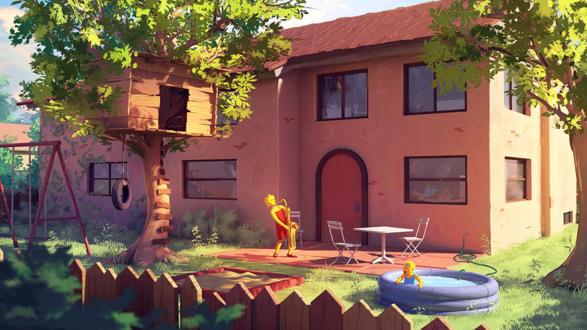 Обои Задний двор семьи симпсонов. Повзрослевшая лиза играет на саксофоне / by Tohad
