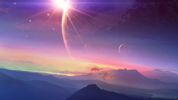 Обои Сказочные драконы летят в небе среди планет и солнца над горами