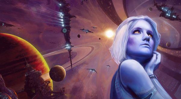 Обои Платиновая блондинка с янтарными глазами, на фоне космического пространства, звезды, планеты и космических кораблей
