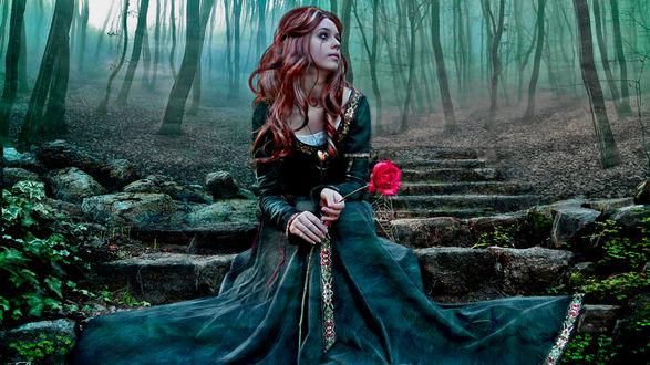 Обои Рыжеволосая девушка в длинном платье, с розовой розой в руке сидит на старых каменных ступенях в лесу
