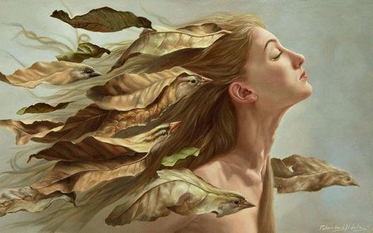 Обои Девушка с развеваюшимися волосами с, летящими за ней птицами-листьями, художник-гиперреалист Yigal Ozeri