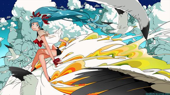 Обои Вокалоид Хатсуне Мику / Vocaloid Hatsune Miku летит в облаках среди чаек, art by Maron Kuzakawe