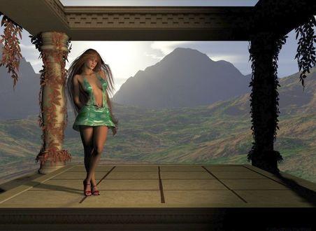 Обои Девушка в коротком одеянии на веранде, на фоне гор в утренней дымке