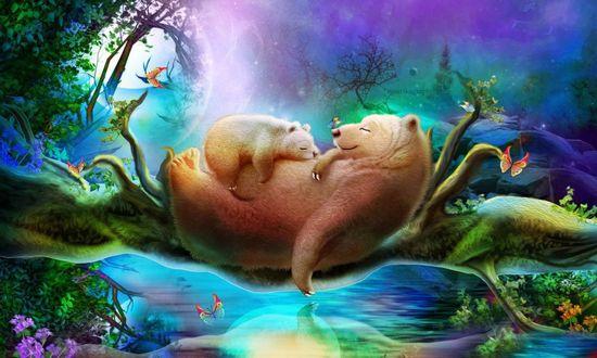 Обои Медведица с медвежонком, лежащим на ней спят на стволе дерева, перекинутом через воду, как мост, над спящими медведями летают бабаочки