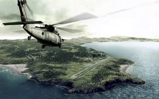 Обои Вертолет над полуостровом, из игры Operation flashpoint, Dragon rising