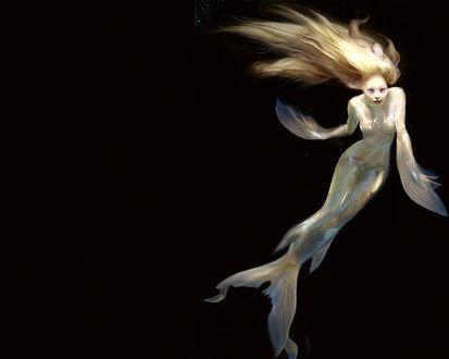 Обои Девушка-русалка в темной воде