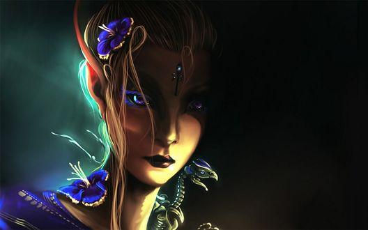 Обои Скелет маленького дракона сидит на плече девушки эльфа, с синими цветами в волосах и на плече