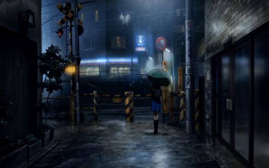 Обои Девушка с зонтом стоит на улице, аниме Denpa teki na Kanojo