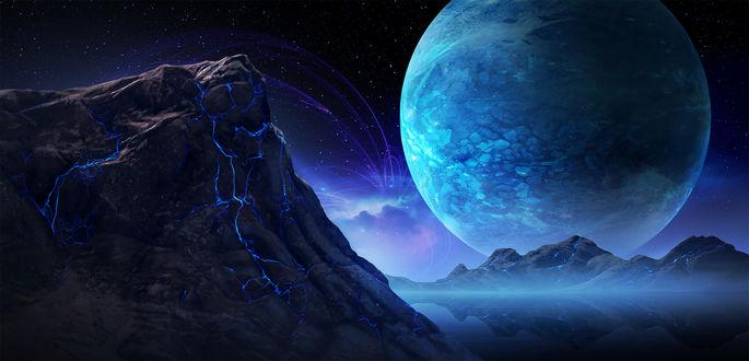 Обои Огромная планета за горами, by Ian Boe