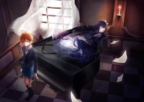 Обои Парень стоит у рояля, на котором лежит девушка, by O-hikaku