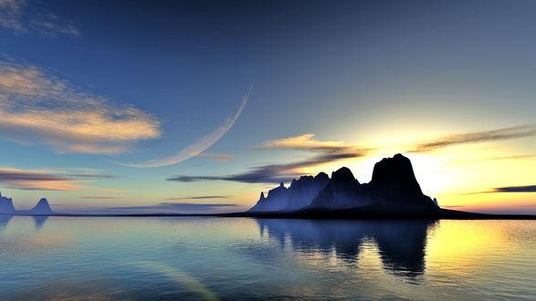 Обои Силуэт планеты на небе на фоне водоема, гор и заката